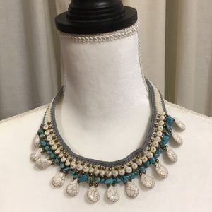 Jewelry - GRAY AND WHITE CROCHETED BEADED NECKLACE NWOT